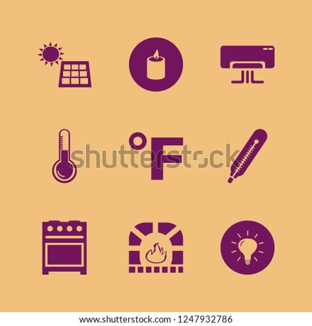 heat icon. heat vector icons set thermometer, fahrenheit, candle and solar panel