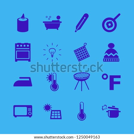heat icon. heat vector icons set thermometer, grill, fahrenheit and gas stove