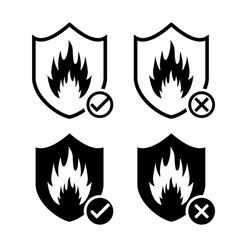 Heat resistant sign concept. Fire resistance. Shield with fire, flame icon. Refractory sign with checkmark and cross symbol. Illustration vector