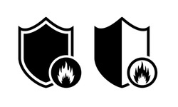 Heat resistant sign. Fire resistance. Shield with fire, flame icon. Refractory sign. Illustration vector