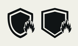 Heat resistant sign. Fire resistance. Shield with fire icon. Refractory sign. Illustration vector