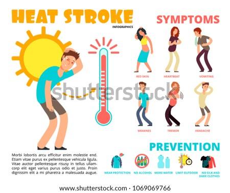 Heat stroke and summer sunstroke risk, symptom and prevention vector infographics. Sunstroke and infographic heatstroke, symptom and temperature illustration