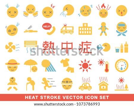 """heat stroke symptom and prevention icon set. /It is written in Japanese as """"heat stroke """"."""