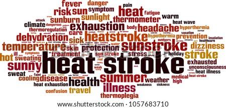 Heat stroke word cloud concept. Vector illustration