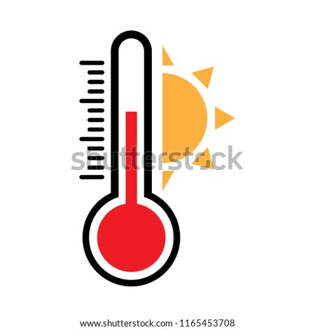 heat temperature icon, thermometer high temperature, vector with temperature half scale with sun for measurement forecast weather   -  illustration symbol measurement hot weather