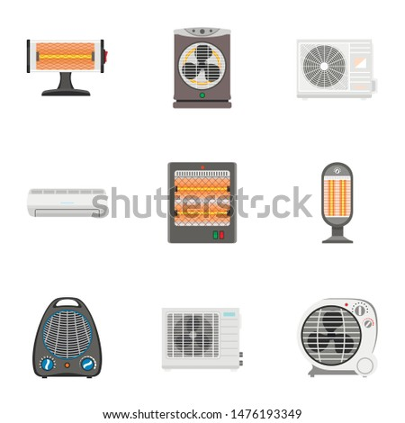 Heater appliances set. Flat illustration of 9 heater appliances set vector icons for web design isolated on white background