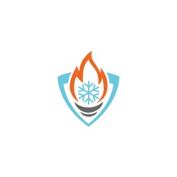 heating and cooling - business service logo template vector illustration. torch fire flame, ice and shield corporate elements. security signs.