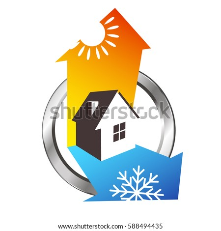Heating and cooling house, air conditioning symbol