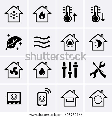 Heating and Cooling Icons. HVAC (heating, ventilating, and air conditioning) technology icons. Vector