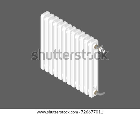 Heating radiator. Isolated on grey background. 3d Vector illustration. Isometric projection.