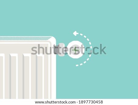 Heating radiator. Metal radiator for heating systems. Flat design style. Realistic heating radiator with temperature knob in zoom vector When turned to the left, the temperature increases.