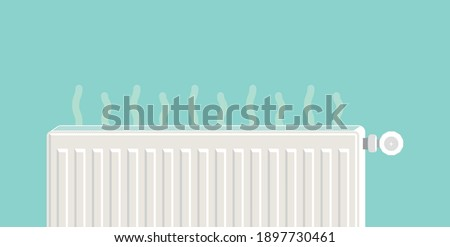 Heating radiator. Metal radiator for heating systems. Flat design style. The temperature of the opened radiator goes up into the room.