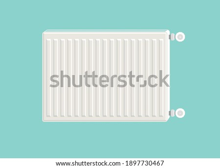 Heating radiator. Metal radiator for heating systems. Modern design style. Realistic white steel panel heating radiator on blue background. Illustration device.