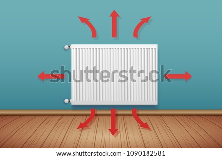 Heating radiator with scheme of heat spreading in room. Modern Central heating system equipment. Water and steam model for wall. Vector Illustration