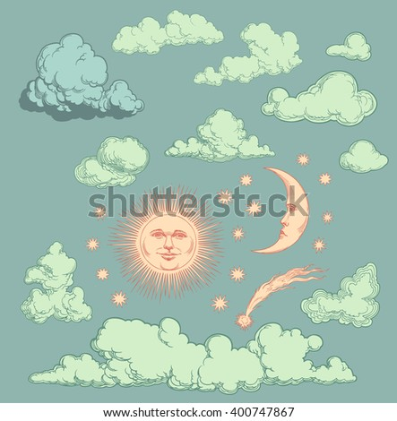 Heavenly Bodies. Design set. Hand drawn engraving. Vector vintage illustration. Isolated on color background. 8 EPS