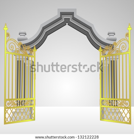 heavenly gate with open gold