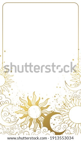 Heavenly modern card with golden sun and moon, vintage background for astrology and horoscope, natal chart with stars in boho design. Vector illustration isolated on white background Stock photo ©