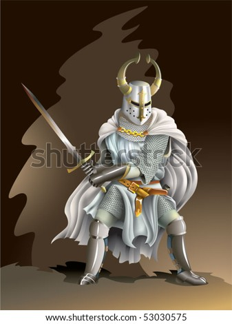 Heavy armored Crusader, Knight of Order, with a sword in his hands, vector illustration with mesh gradient