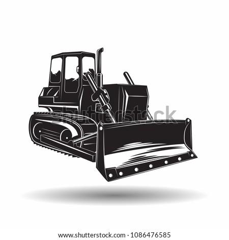 Heavy bulldozer machine monochrome icon, on white background, vector