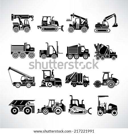 heavy duty machines, heavy construction machinery icons set