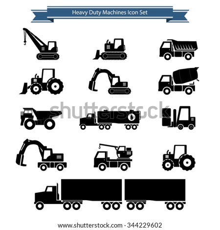 Heavy duty machines icons set