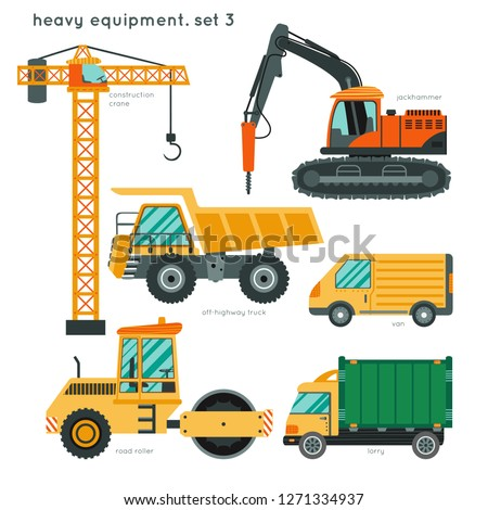 Heavy equipment set3: construction crane, jackhammer, off-highway truck,  road roller, van, lorry. Construction vehicles for kids