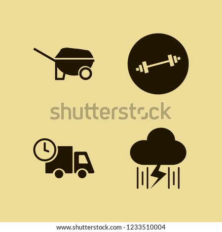 heavy icon. heavy vector icons set rain and lightning, wheelbarrow, dumbbell and fast delivery truck