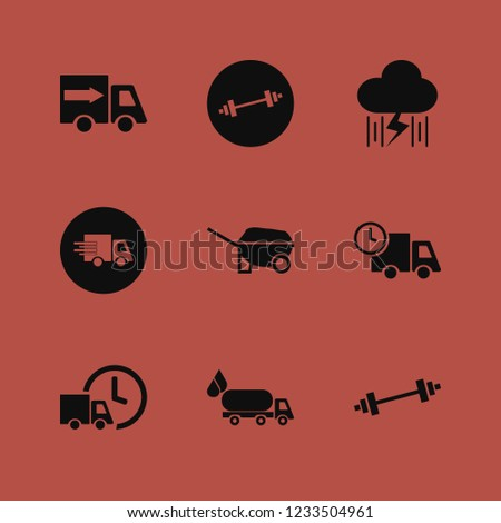 heavy icon. heavy vector icons set wheelbarrow, fast delivery truck, dumbbell and rain and lightning