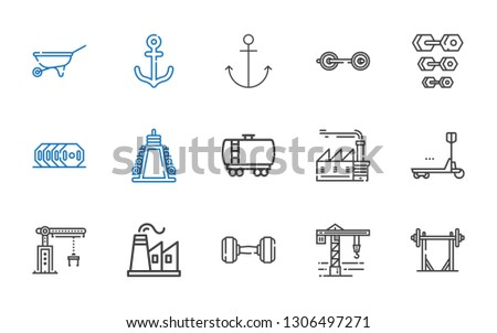 heavy icons set. Collection of heavy with barbell, crane, dumbbell, factory, duty, fuel truck, weight, anchor, wheelbarrow. Editable and scalable heavy icons.