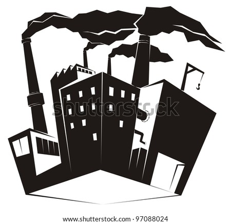 Heavy industrial site / factory with black smoke rising from high chimney stacks - industrial clip art vector illustration