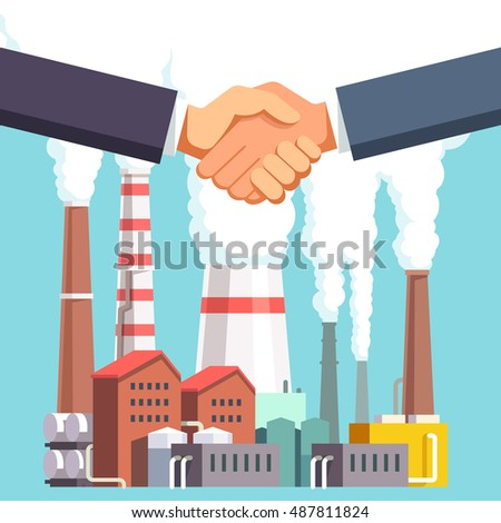 Heavy industry business acquisition deal hand shake. Buying and selling factory or energy production plant businessman handshake. Modern flat style vector illustration.