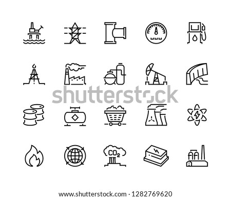 Heavy industry line icons. Oil gas production nuclear electric station fuel refinery barrel. Power storage industrial vector icons