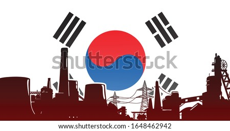 Heavy industry of Republic of Korea (South Korea) - vector illustration colored red with electric power plant, factory and mining facility on the flag background with colors blue, red, white