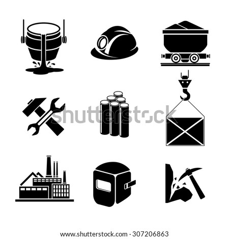 Heavy industry or metallurgy icons set. Wrench and hammer, hack and helmet, tool for manufacturing, production and trolley, factory building, vector illustration