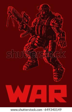 heavy infantry in armor suit