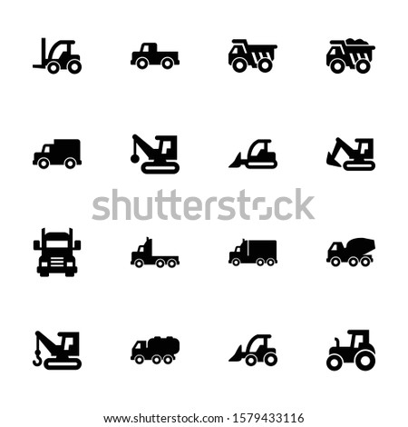 Heavy Machinery & Construction Equipment Icons in Black Color