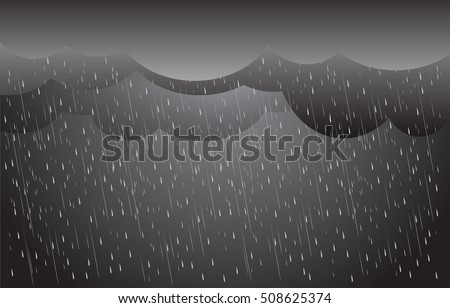 Heavy rain in dark sky, clouds and storm  vector background