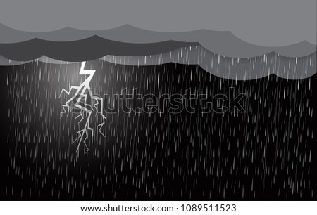 heavy rain in dark sky  thunder
