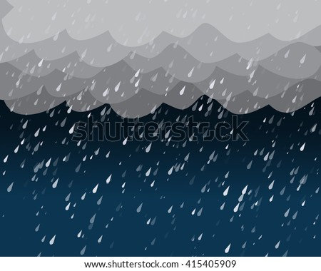 heavy rain in dark sky  vector