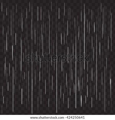 Heavy rain vector on black transparent background. Realistic rain drops concept. Rainy day background. Grey gray rain drops on black. Vector rain isolated on black transparent background.