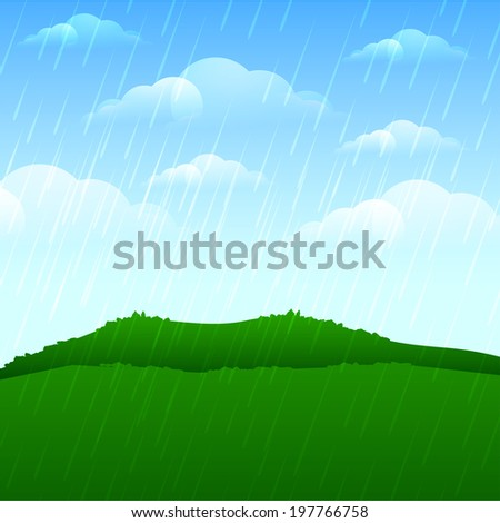 Heavy raining and stormy cloud on landscape background.