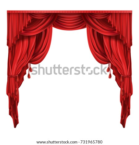 Heavy red curtains or drapes in victorian style gathered with tassels rope realistic isolated vector illustration. Window dressing, theater stage, retro frame with copyspace for product premiere ad