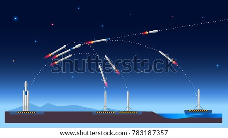 Heavy reusable rocket carrier of USA. Falcon in space. Launch, separation stage, landing. Vector flight scheme. Infographic flight illustration.