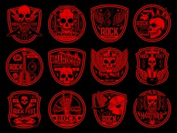 Heavy rock and punk music icons set. Rock festival and heavy metal live concert emblems. Evil sculls with horns, mohawk hairstyle and crown, winged and crossed electric guitars, drums engraved vector