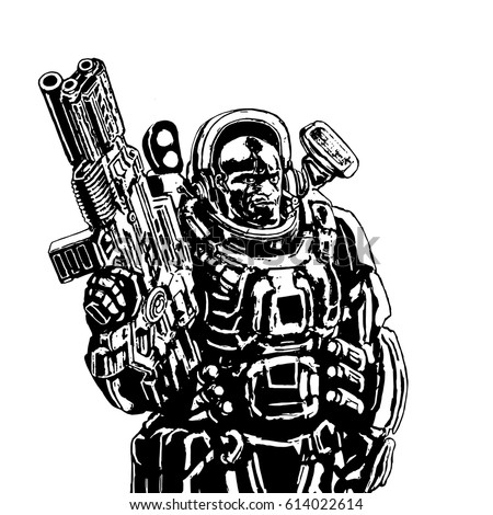 heavy space marine in suit with
