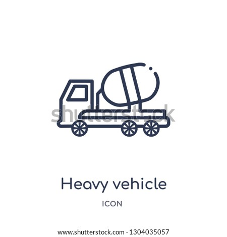 heavy vehicle icon from transport outline collection. Thin line heavy vehicle icon isolated on white background.
