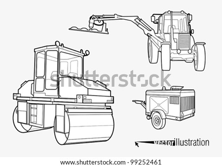 Heavy vibration roller and construction vehicle stylized schematic drawing