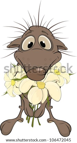 Hedgehog and flowers. Cartoon