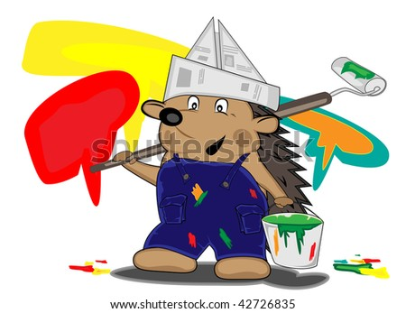 hedgehog house-painter with a bucket with a paint