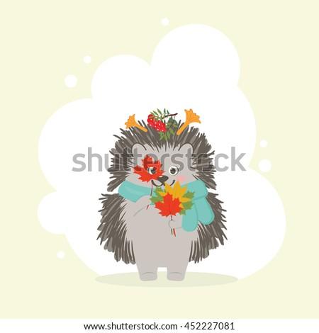 hedgehog in light blue scarf